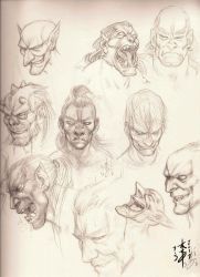 Orcs and Goblins Head Sketches by arcais