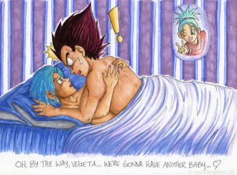 Vegeta and Bulma- Another Baby by lauraneato