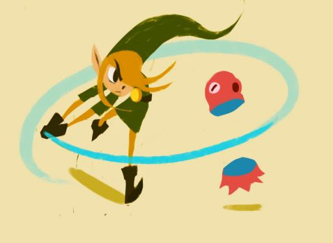 Link and an Octorok by papercaves
