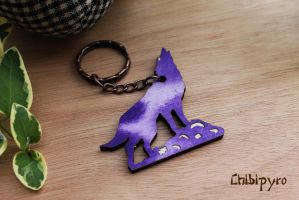 Painted wolf keychain by ChibiPyro