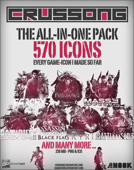 The All-In-One Game-Icon Pack - 570 Icons ICO+PNG by Crussong