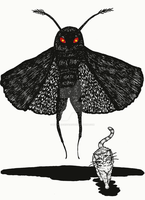 Mothman and Cat by BettyRocksteady