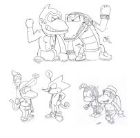 Mario and Sonic - Team Kong  and Team Chaotix by MrNintMan