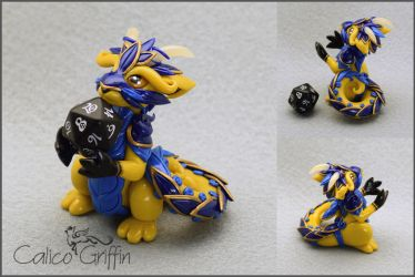 Yellow armored Cayo Dragon - dice holder by CalicoGriffin