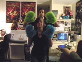 His and her monster mittens by loveandasandwich
