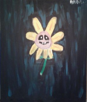 Flowey Painting (Undertale) by RockitStorm