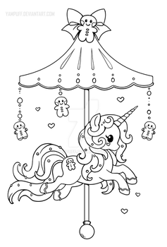 Holiday Carousel Pony :Gingerbread Pony: Lineart