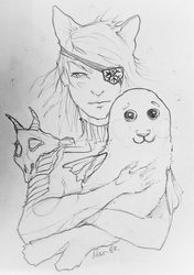 catgirl with seal by Mar-ER
