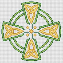 Celtic Cross in green and gold by RaNuit