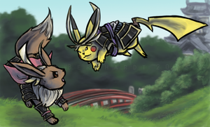 Commission 3 - Pika-Eevee Conquest by phantos