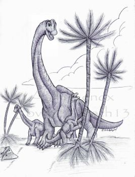 Brachiosaurus Family by Loved-to-Death13