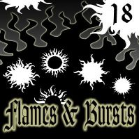 Flames and Bursts PS Shapes by bozoartist