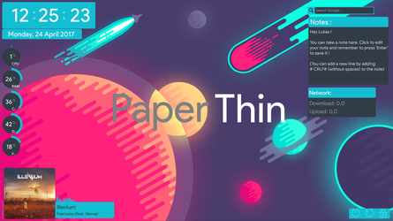 PaperThin - A flat Rainmeter suite by craftAA