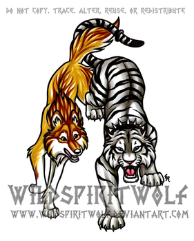 Silver Tiger And Wolf Copic by WildSpiritWolf