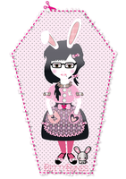 bunny with a blackheart by BettyBlackheartBones