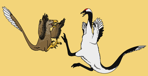Deinonychus and Ornithomimid by StygimolochSpinifer