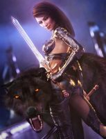 Black Wolf, Fantasy Woman Warrior Art, DS Iray by shibashake