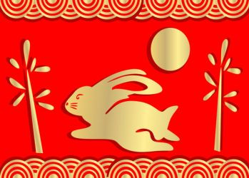 Yr of the Rabbit gold and red by lehsa