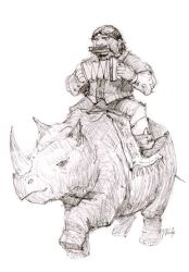 Gypsy on a rhino by gabahadatta