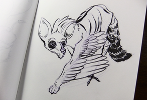 Inktober2016 day 13: Aardwolf/whooping crane by Clean3d