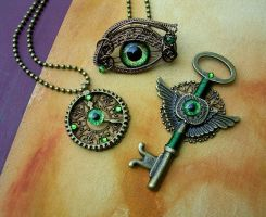 Steampunk Bronze Green - Gear Clock Key Eye Set 1 by LadyPirotessa