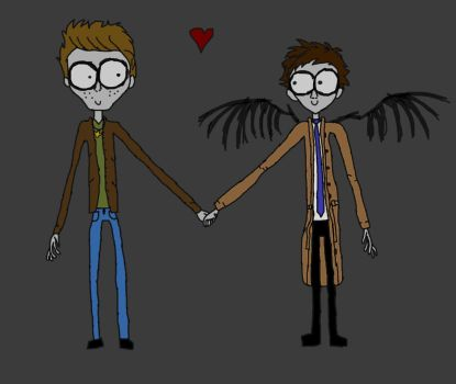 Tim Burton style Destiel by multifandomed25