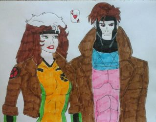Gambit and Rogue by JQroxks21