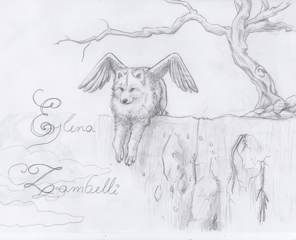 Lineart - Winged Wolf cub for Elena Zambelli by otsoarekin