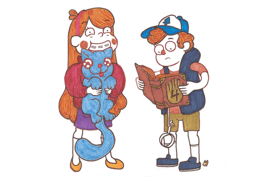 Gravity Falls inspired sticker art by milzs