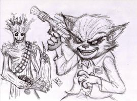 Han Roket And Chewgroot by nic011