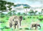 iPad FINGER painting: Elephants by chaseroflight