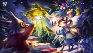 Pokemon christmas  Jirachi and Pikachu by logancure
