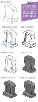 Step-by-Step Isometric Gravestone by moondustowl
