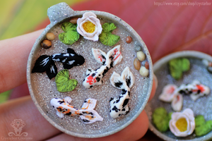 WIP Koi Fish pond resin pendant polymer clay by Crystarbor