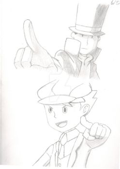 Professor Layton and Clive/Future Luke by Kittypie323