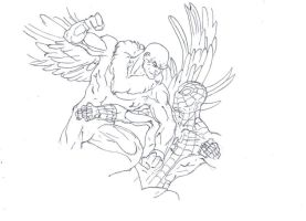 Vulture vs spiderman drawing by electronicdave