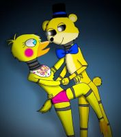 Toy chica+Golden freddy by Pinkwolfly