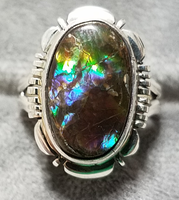 Full specturm ammolite ring. by FlagstaffTraders