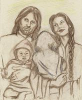 Aragorn and Arwen with their hands full! by rstrider9