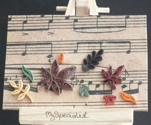 Quilled Autumn Leaves ATC by MySpecialist