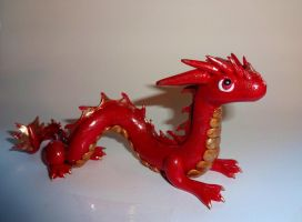 Red and Gold Chinese Dragon by ByToothAndClaw
