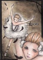 ACEO 186 White Swan - Black Passion by Juhulefu