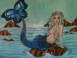 Blue Butterfly Mermaid for Nana by Nessie-Noodlez