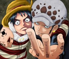 one piece luffy and Law by Master-Majidosse