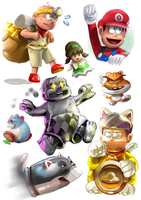 Osomatsu-San/ Mario 3d World crossover sketches by themeisterart
