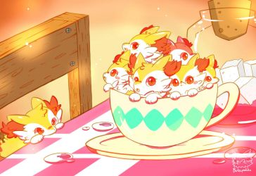 Mini Braixen in cup by Butapokko