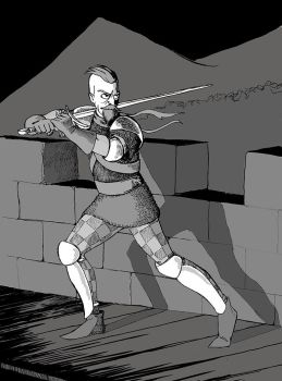 Hawkeye takes a stand on the wall of a castle. by warriorneedsfood
