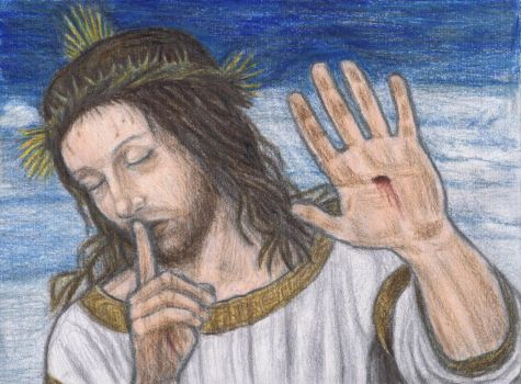 Jesus Christ says shh by gagambo