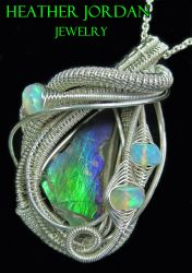Ammolite Pendant in Sterling Silver with Opals by HeatherJordanJewelry