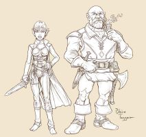 Halfing and Dwarf by staino